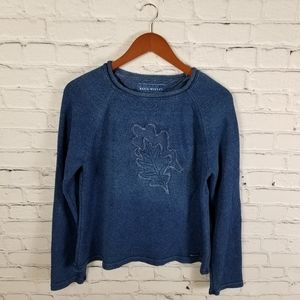 Blue Willi's cotton leaf print pullover sweater